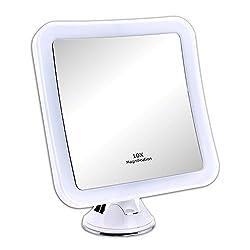 Schramm® LED Spiegel 10-Fach Vergrößerung mit Saugnapf LED Schminkspiegel Weiss Schminkspiegel mit LED Make up Spiegel mit Beleuchtung Standspiegel Kosmetikspiegel Badezimmerspiegel Kosmetik Spiegel