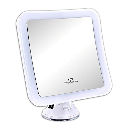 Schramm® LED Spiegel 10-fach Vergrößerung mit Saugnapf LED Schminkspiegel weiss Schminkspiegel mit LED Make up Spiegel mit Beleuchtung Standspiegel Kosmetikspiegel Badezimmerspiegel Rasierspiegel Kosmetik Spiegel (Mit Spiegel Rahmen)
