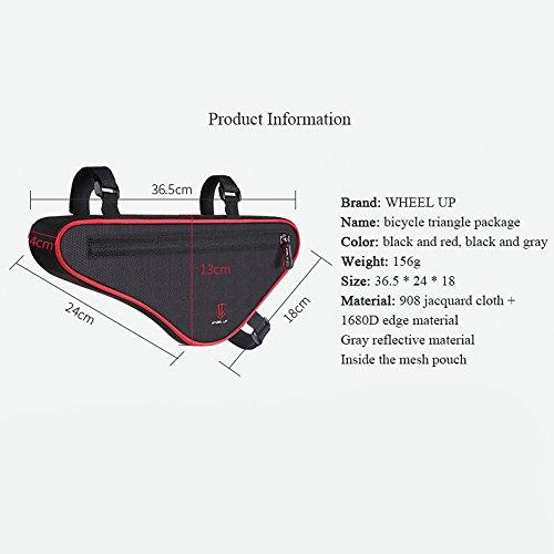Fahrradtasche, Fozela Fahrrad Dreiecktasche Triangeltasche Reflektierend Fahrradrahmentasche Black red
