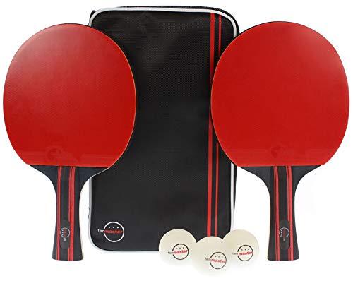tenmaster Tischtennis-Set | 2X Allround Tischtennischläger | 3X Profi-Tischtennisbälle | 1x praktische Tasche