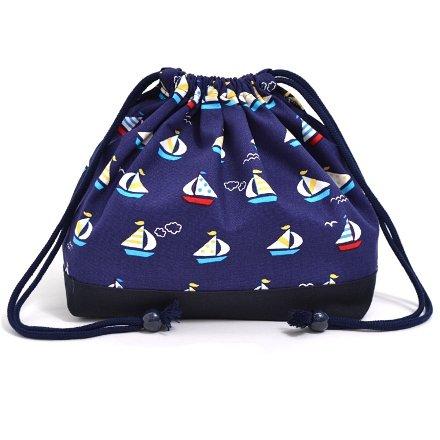 Cordon de serrage Gokigen d?jeuner (de taille moyenne) avec soufflet sac ? lunch ?l?gant voyage yacht vacances (marine) x bleu marine boeuf made in Japan N3469400 (japon importation)
