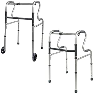 Aidapt Dual Riser Deluxe Folding Walking Frame (with or out Wheels)