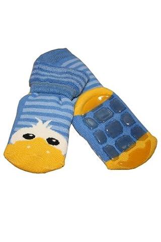 Weri Spezials Unisexe Enfants ABS Peluche Caneton Pantoufle Chaussons Chaussettes Antiderapants 5-6 Ans (27-30) Bleu