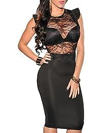 a5fce8fbe9b49 ABILIO - Abito Pizzo Donna Vestitino Sexy Vestito Sera Abiti Eleganti  Vestiti Donna
