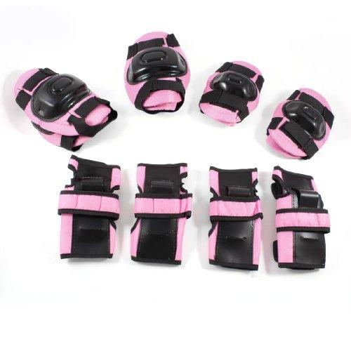 sourcingmap® Kinder Schlittschuhe Gear Palm Elbow Kniebandage, Pink, Schwarz, 12-in - 1