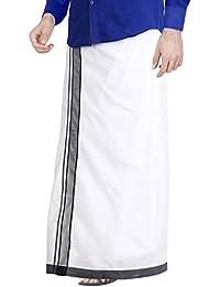 JISB Men's Cotton Dhoti (White_Free Size)