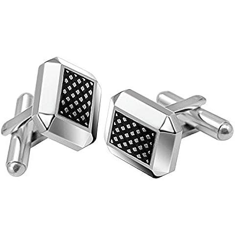 Coolman para hombre gemelos de acero inoxidable patrón de rombos 2pcs Negro y Plata Dos Tonos Gemelos para Boda Negocio