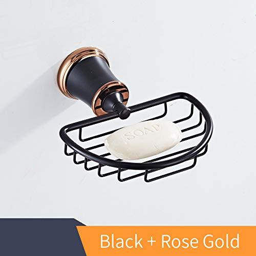Korb Bad Produkte Massivem Messing Seifenschale Halter Seifenkiste Für Bad-Accessoires Black and Rose Gold -
