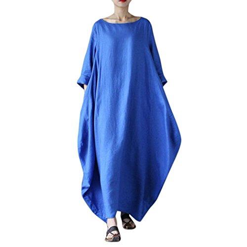 SOMESUN Maxi Kleider Damen Crew Hals Lose Beiläufig Solide Baumwolle Ausgebeult Übergroß, Damen Beiläufige Lose Kleid Fest Langarm Boho Lang Maxi Kleid L-4XL (Blau, XXXXL) (Langarm-maxi-kleid-blau)