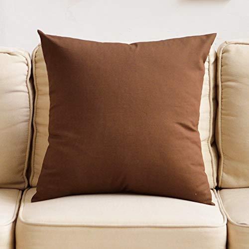 WXFO Persönlichkeitskissen Baumwolle einfarbig Sofa Kissen Wohnzimmer Kissen Bett Kissen Kissen Stuhl Back Office lumbalen Kissen Kissen (Color : Brown, Size : 45cm*45cm) (Gesunde Back-office-stuhl)