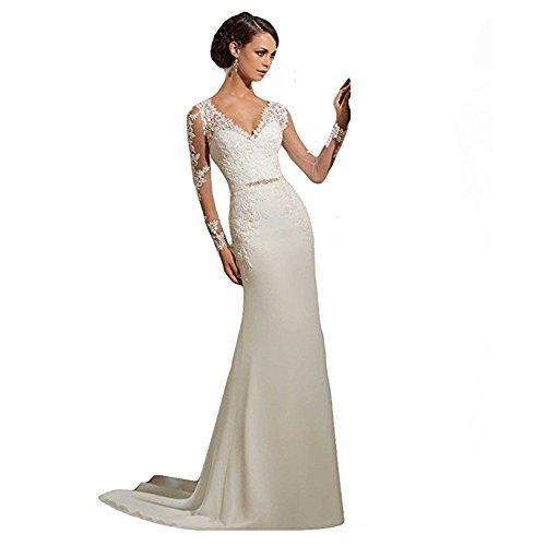 WeWind Damen Langarm Brautkleid V-Ausschnitt Hochzeitskleid Spitzen und Tüll Brautmode Schleppe...