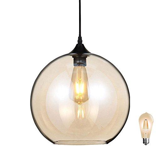Glas Kugel Leuchte (Retro Hänge Pendel Leuchte Gästezimmer Decken Lampe Amber Glas Kugel im Set inkl. LED Leuchtmittel)