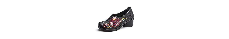 Mujeres bomba 5 cm talón Chunkly punta redonda bordada zapatos casuales Comforty color puro corte de flores zapatos... -