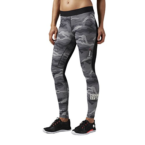 Series Compression Reebok One (Reebok Damen Trainingshose ONE Series ACTIV Chill Compression Camo Tights, Coal, XL, AI1735)