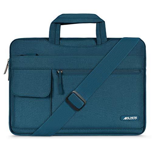 MOSISO Notebooktasche Kompatibel 13-13,3 Zoll MacBook Pro, MacBook Air, Notebook Computer, Polyester Flapover Art Laptoptasche Sleeve Hülle Umhängetasche mit Griff & Schultergurt, Deep Teal