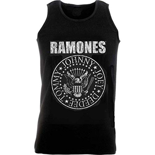 Ramones Seal Mens Camiseta de Tirantes, Negro, S para Hombre