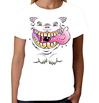 Velocitee Ladies T-Shirt Smiling Cats Face W16167 White S