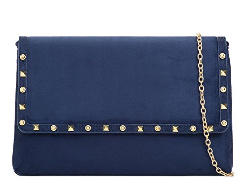 Hautefordiva, Damen Clutch Fuchsia Large Navy