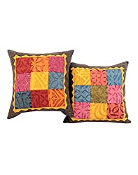 Handmade Multicolor Set of 2 Vintage Cushion Cover 16 by 16 Patchwork Applique Work Pillow Covers Unique Cotton Throw Pillow By Rajrang