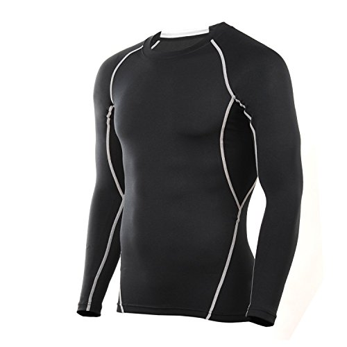 4ucycling Compression Tight Shirt Base Layer Breathable Sleeves Fit Slim Sports Design for Work Out Black (Compression Shirt Tight-fit)