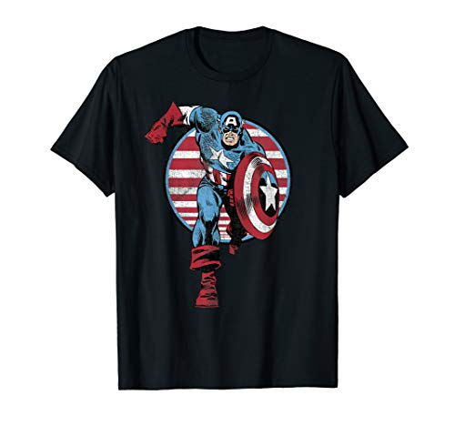 Marvel Captain America Charge Graphic T-Shirt T-Shirt (Frauen Captain America-t-shirt)