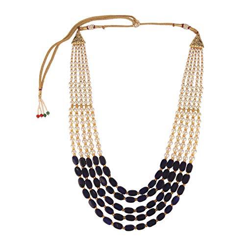 Efulgenz Indischen Bollywood Mehrlagig blau Faux Saphir Perlen Brautschmuck Halskette Hochzeit Schmuck für Frauen (Einfache Indische Kostüm Für Erwachsene)