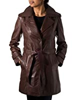 Ladies Womens Chestnut Brown Real Leather Classic 3/4 Trench Long Winter Coat With Belt Tie and Back Vent