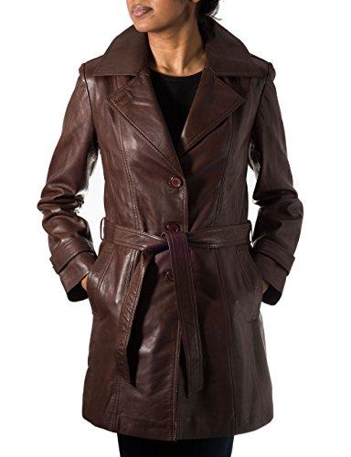 Trench Leder (Damen Braun Leder Trenchcoat mit RŸckenschlitz und GŸrtel Krawatte)