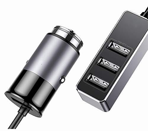 YONDLEE Caricabatterie per Auto, Caricabatterie per Auto Intelligente 4USB Prima E Dopo Aver Condiviso Il Caricabatterie per Auto Multifunzione 5.5SA A 4 Porte,Grigio