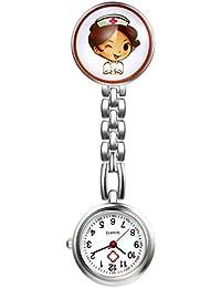 LANCARDO Reloj de Bolsillo Médico Colgante de Enfermera Prendedor Broche Cuarzo Original Clip Uniforme Paramédico Regalo