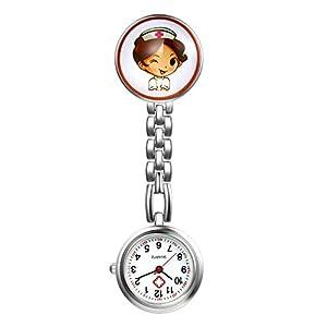 LANCARDO Uhren,Krankenschwester Armbanduhr FOB-Uhr Damen Taschenuhr Analog Quarzuhr aus Legierung LCD037P012