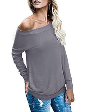 [Sponsorizzato]ACHIOOWA Donna Maglietta Maglie T-Shirt Manica Lunga Senza Spalline Moda Casual Elegante Top Basic