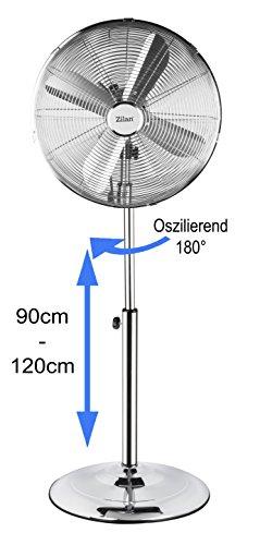 Vollmetall Standventilator | Ventilator | Stand Fan | Luftkühler | Windmaschine | Ø 40cm, 50 Watt, 3 Geschwindigkeitsstufen | 180° Rotation | leiser Betrieb | Höhenverstellbar 90-120cm