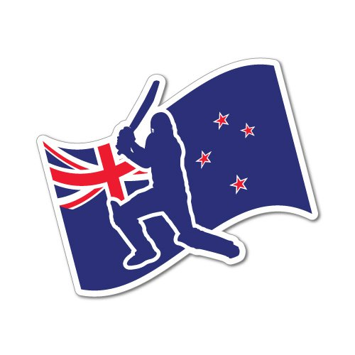 New Zealand Flag Cricket Sticker Decal Surfboard Vintage Skate Surf -