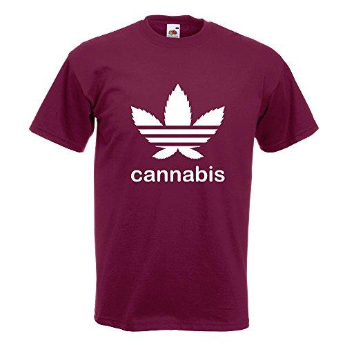 KIWISTAR - Cannabis Hanfblatt Schrift T-Shirt in 15 verschiedenen Farben - Herren Funshirt bedruckt Design Sprüche Spruch Motive Oberteil Baumwolle Print Größe S M L XL XXL Burgund