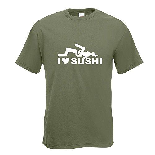 KIWISTAR - I Love Sushi Motiv2 T-Shirt in 15 verschiedenen Farben - Herren Funshirt bedruckt Design Sprüche Spruch Motive Oberteil Baumwolle Print Größe S M L XL XXL Olive