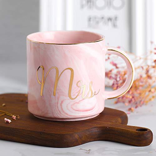 LEKOCH 380ML Mr und Mrs Keramik Becher Kaffee Tassen Teetasse, Porzellan Becher, Geschenk für Liebe (Rosa)