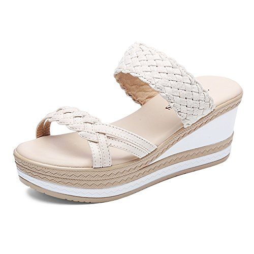 Chaussons ZHANGRONG- Cushion Walk Mesdames Toe mi-Talon compensé Slip on Mules Sandales