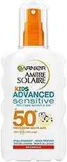 Garnier Ambre Solaire Crema Solare Bambini, Protezione Solare Spray Advanced Sensitive Kids, Protezione Alta, IP50+, 200 ml