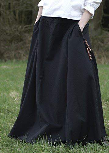 Mittelalterlicher Rock, weit ausgestellt, schwarz aus schwerer Baumwolle – Mittelalter, LARP, Wikinger Größe XXL - 2