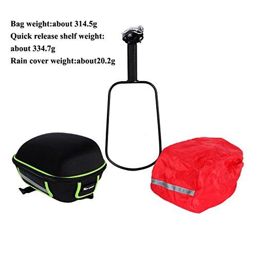 West Biking Wasserdichte Gepäckträgertasche für das Mountainbike/Fahrrad, Fahrradtasche mit Schnellverschluss, Rahmen und wasserdichter Regenschutz inklusive Schwarz / Grün