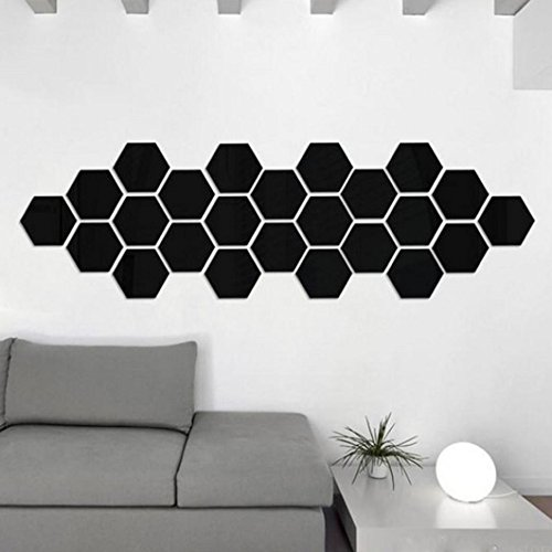 Decorie 12pcs 3D Art DIY Hexagon Mirror Vinyl Wall Sticker for Home Decor 46*40*23mm (Black)