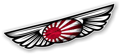 Vintage Traditionelle geflügelten Emblem Design mit Japanischen Rising Sun Land Flagge für Motorrad Biker Helm Auto-Aufkleber Vinyl Aufkleber 130x 30mm (Vintage Japanische Motorräder)