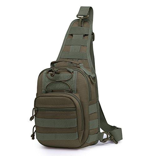 Mardingtop Schulterrucksack Tactical Sling Bag Crossbody Tasche Brusttasche für Wandern Reisen Multipurpose Daypack (Armee Ausrüstung)