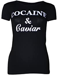 "(womens short sleeved ""cocaine & caviar"" t-shirt (M8) Femme manche courte ""cocaine & caviar"" t-shirt"