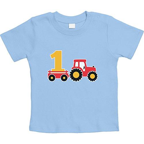 1 Jahr Geburtstag Junge Geschenk Traktor Bagger Unisex Baby T-Shirt Gr. 66-93 12-18 Monate / 86 Hellblau (1. Jungen-geburtstag Shirt)
