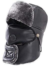 CJC Sombreros PU Bufanda Orejeras Máscara Máscara Unisexo Oreja Solapa Impermeable Calentar Soldado Trampero Gorra (Color : T2,…