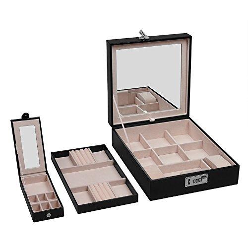Boîtes à bijoux coffre à bijoux verrouillable avec miroir pour les filles 3,7L Noir