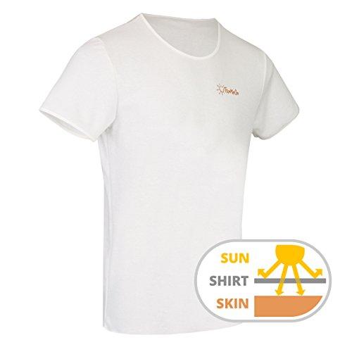Durchbräunendes T-Shirt für Herren von TanMeOn, Unter dem T-Shirt braun werden, Schnitt Rundhals, Farben: Weiss, Blau oder Grau, Größen S, M, L, XL, XXL (Weiß, XL) (Shirt Baumwolle Tan)