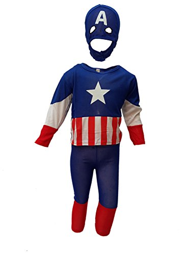 KFD Captain of America fancy dress for kids,Super Hero Costume for Annual function/Theme Party/Competition/Stage Shows/Birthday Party Dress